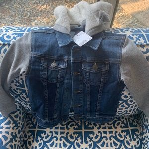 NWT Kids denim knit jean jacket hood shearling 5/6
